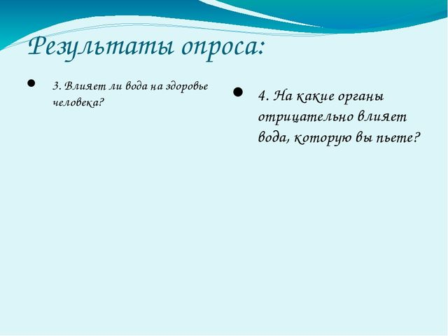 Результаты опроса: 3. Влияет ли вода на здоровье человека? 4. На какие орган...