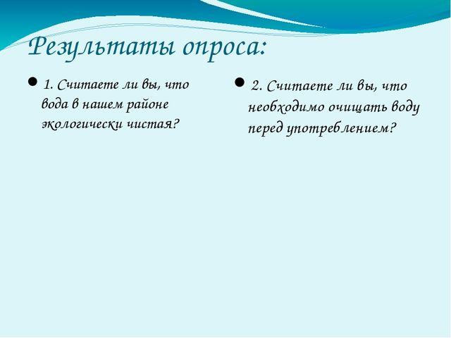 Результаты опроса: 1. Считаете ли вы, что вода в нашем районе экологически чи...