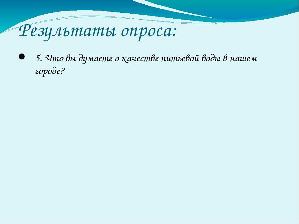 Результаты опроса: 5. Что вы думаете о качестве питьевой воды в нашем городе?