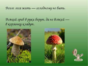 Возле леса жить— голодному небыть. Всякий гриб вруки берут, даневсякий—