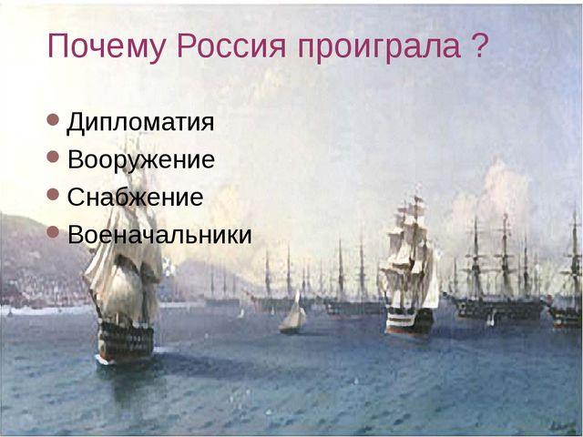 Почему Россия проиграла ? Дипломатия Вооружение Снабжение Военачальники