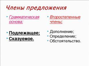 Грамматическая основа: Подлежащее; Сказуемое. Второстепенные члены; Дополнени