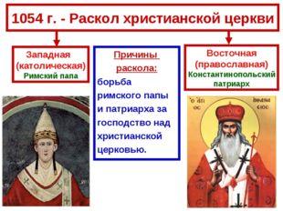 1054 г. - Раскол христианской церкви Причины раскола: борьба римского папы и
