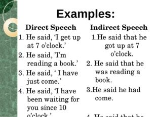 Direct Speech 1. He said, 'I get up at 7 o'clock.' 2. He said, 'I'm reading a