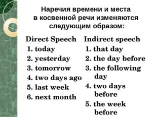 Direct Speech 1. today 2. yesterday 3. tomorrow 4. two days ago 5. last week