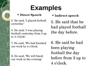 Direct Speech Indirect speech 5. He said, 'I played football yesterday' 6. He