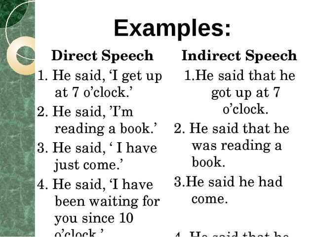 Direct Speech 1. He said, 'I get up at 7 o'clock.' 2. He said, 'I'm reading a...