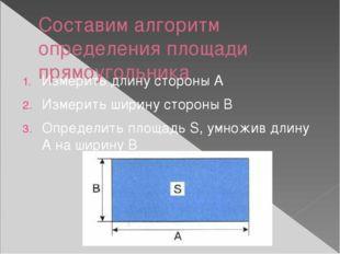 Составим алгоритм определения площади прямоугольника Измерить длину стороны А