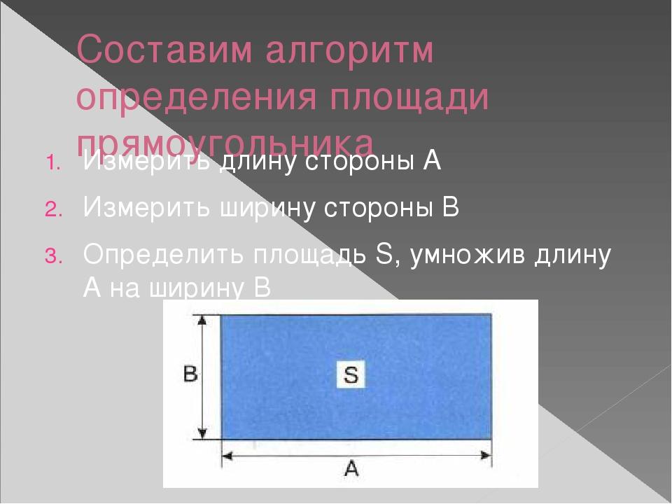 Составим алгоритм определения площади прямоугольника Измерить длину стороны А...