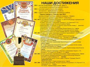 НАШИ ДОСТИЖЕНИЯ 2012- диплом Департамента образования, науки и молодежной пол