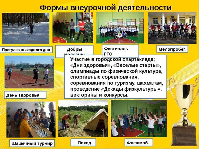 Формы внеурочной деятельности Прогулка выходного дня Добры молодцы Велопробег...