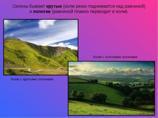 Склоны бываюткрутые(холм резко поднимается над равниной) ипологие(равнино