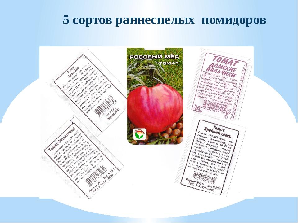 5 сортов раннеспелых помидоров
