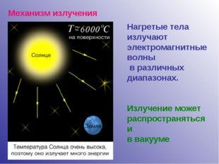 Механизм излучения Нагретые тела излучают электромагнитные волны в различных
