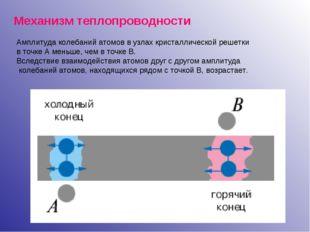 Механизм теплопроводности Амплитуда колебаний атомов в узлах кристаллической