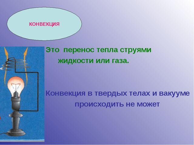 КОНВЕКЦИЯ Это перенос тепла струями жидкости или газа. Конвекция в твердых те...