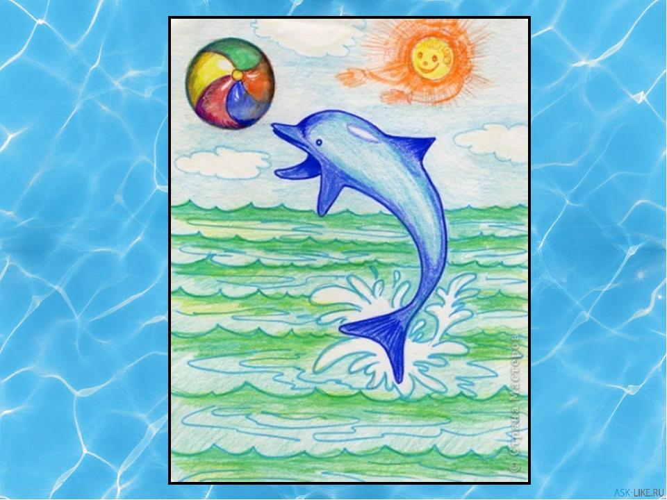 Рисунки с дельфинами в море карандашом