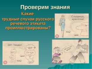 Проверим знания Какие трудные случаи русского речевого этикета проиллюстриров