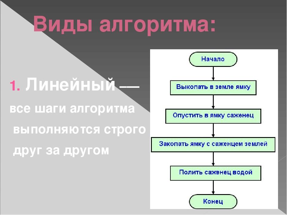 Виды алгоритма: Линейный –— все шаги алгоритма выполняются строго друг за дру...