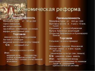 Экономическая реформа Промышленность Мануфактуры от 30 до 200 горно-заводские