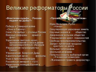 Великие реформаторы России «Властелин судьбы… Россию поднял на дыбы?» Победа
