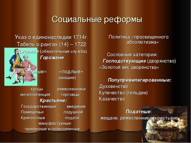 Социальные реформы Указ о единонаследии 1714г. Табель о рангах (14) – 1722 Д...