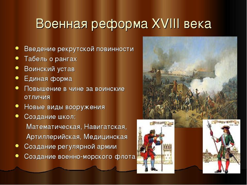Военная реформа XVIII века Введение рекрутской повинности Табель о рангах Вои...