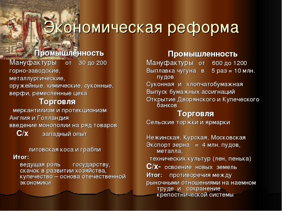 Экономическая реформа Промышленность Мануфактуры от 30 до 200 горно-заводские...