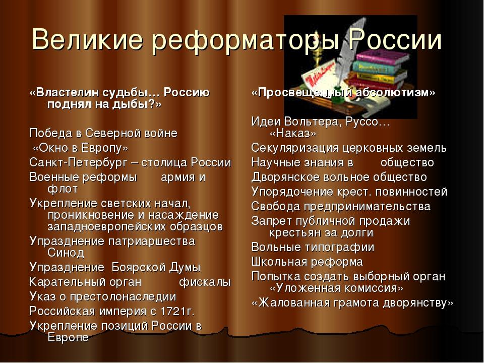 Великие реформаторы России «Властелин судьбы… Россию поднял на дыбы?» Победа...