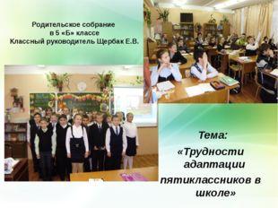 Родительское собрание в 5 «Б» классе Классный руководитель Щербак Е.В. Тема: