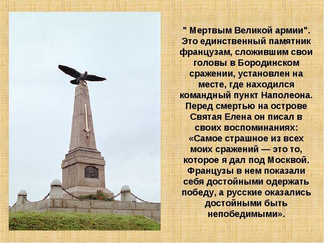 """"""" Мертвым Великой армии"""". Это единственный памятник французам, сложившим свои..."""
