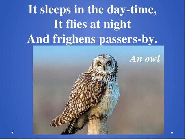 It sleeps in the day-time, It flies at night And frighens passers-by. An owl