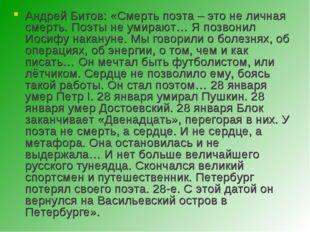 Андрей Битов: «Смерть поэта – это не личная смерть. Поэты не умирают… Я позво