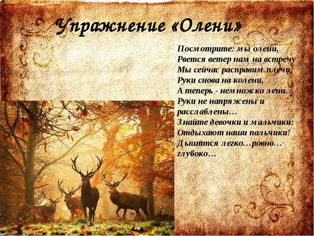 Упражнение «Олени» Посмотрите: мы олени, Рвется ветер нам на встречу Мы сейча...