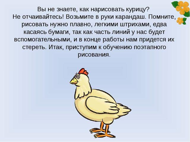 Вы не знаете, как нарисовать курицу? Не отчаивайтесь! Возьмите в руки каранда...