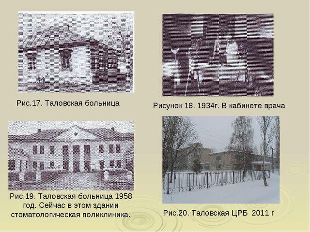 Рис.17. Таловская больница Рисунок 18. 1934г. В кабинете врача Рис.19. Таловс...