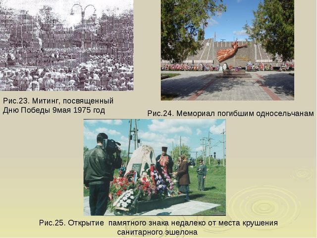Рис.23. Митинг, посвященный Дню Победы 9мая 1975 год Рис.24. Мемориал погибши...