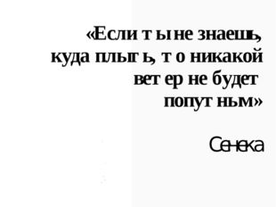«Если ты не знаешь, куда плыть, то никакой ветер не будет попутным» Сенека