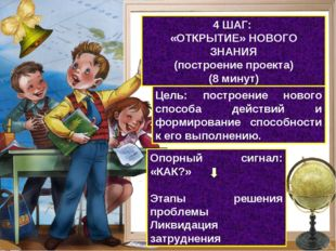 4 ШАГ: «ОТКРЫТИЕ» НОВОГО ЗНАНИЯ (построение проекта) (8 минут) Цель: построен