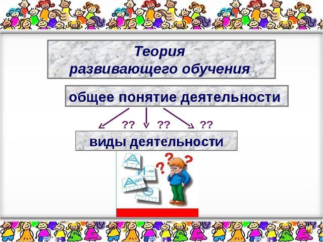 Теория развивающего обучения общее понятие деятельности ?? ?? ?? виды деятель...