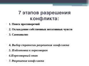 7 этапов разрешения конфликта: 1. Поиск противоречий 2. Охлаждение собственны