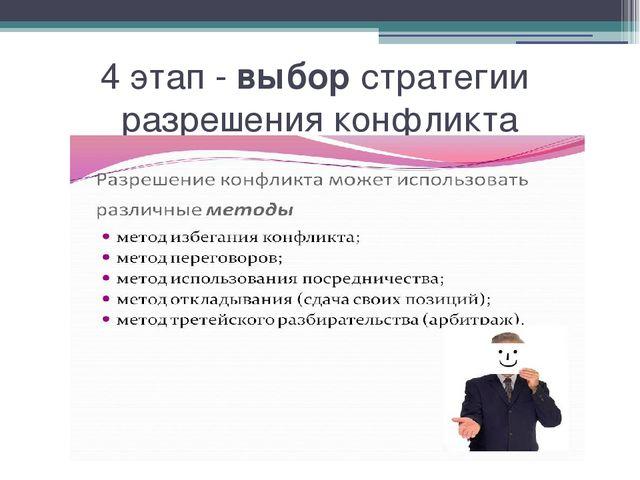 4 этап - выбор стратегии разрешения конфликта