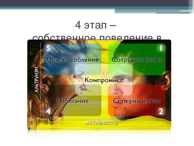 4 этап – собственное поведение в конфликте
