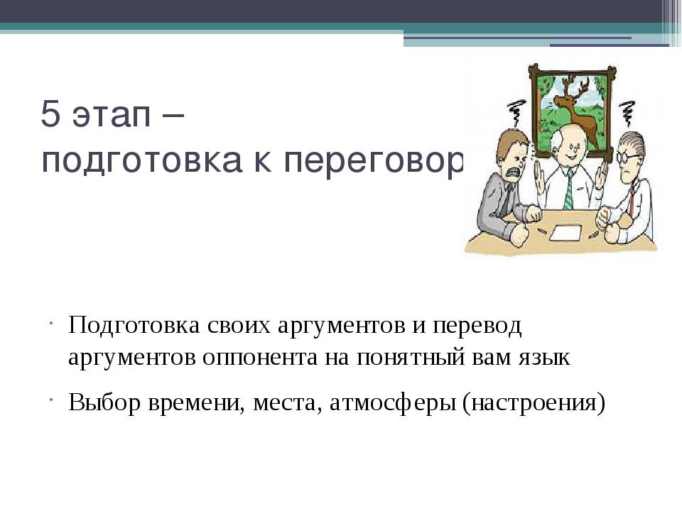 5 этап – подготовка к переговорам Подготовка своих аргументов и перевод аргум...