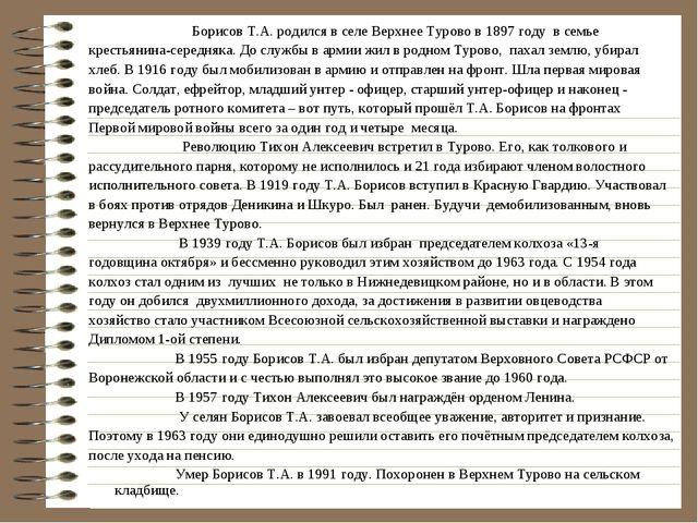 Борисов Т.А. родился в селе Верхнее Турово в 1897 году в семье крестьянина-с...