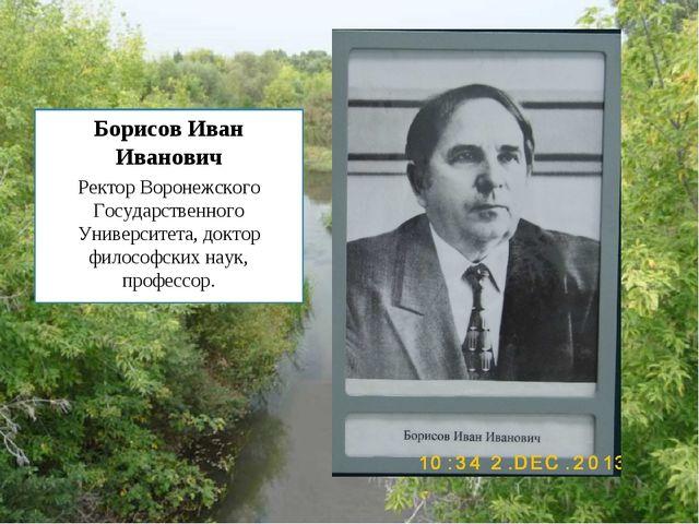 Борисов Иван Иванович Ректор Воронежского Государственного Университета, докт...