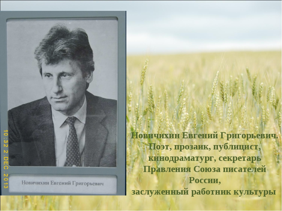 Новичихин Евгений Григорьевич. Поэт, прозаик, публицист, кинодраматург, секре...