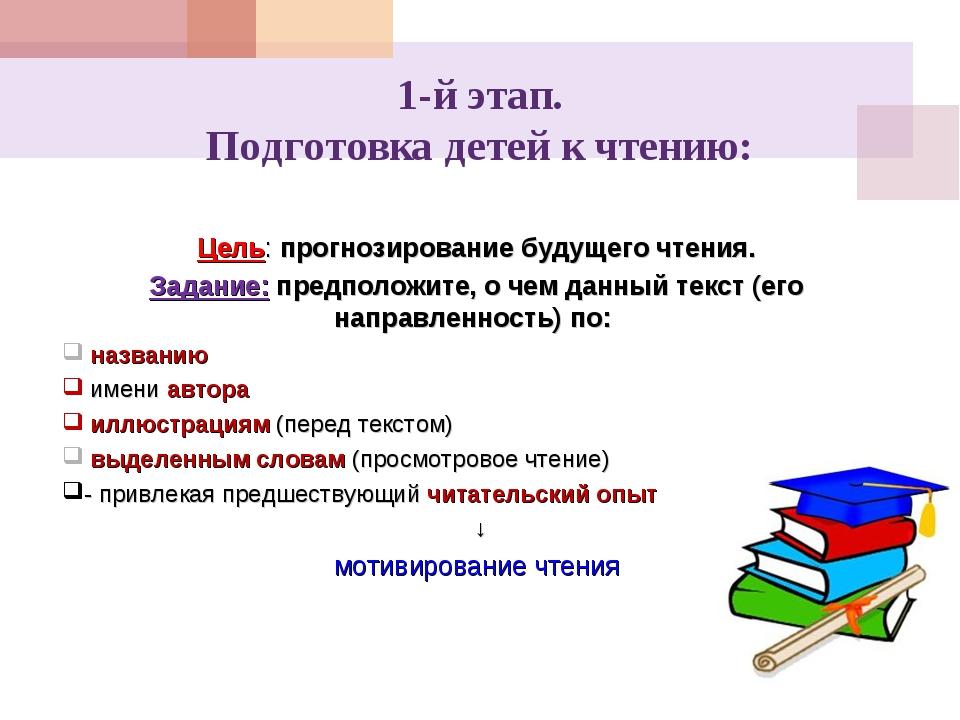 1-й этап. Подготовка детей к чтению: Цель: прогнозирование будущего чтения. З...