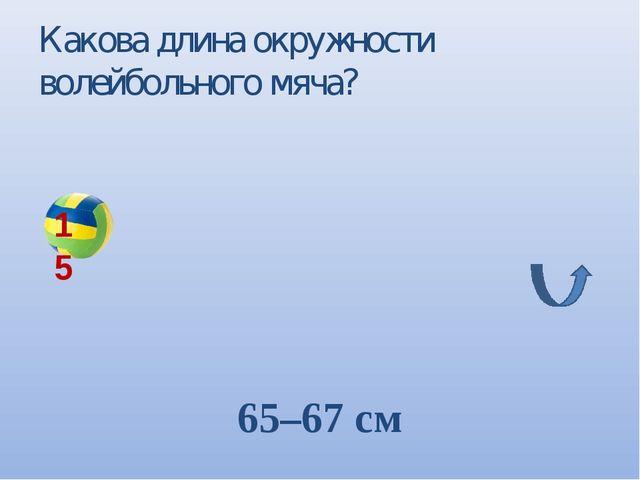 Какова длина окружности волейбольного мяча? 65–67 см