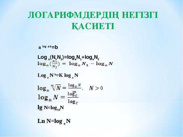ЛОГАРИФМДЕРДІҢ НЕГІЗГІ ҚАСИЕТІ 0 a log a b=b Log a(N1N2)=logaN1+logaN2 Log a...